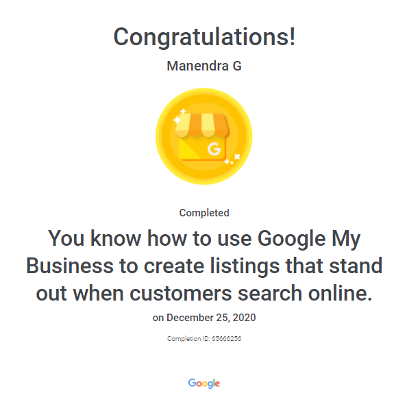 Manendra's Google My Business Certification